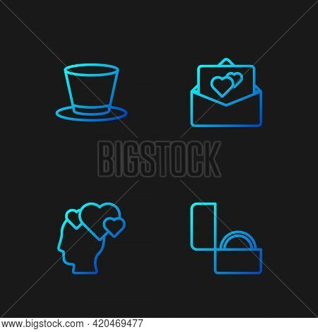 Set Line Diamond Engagement Ring, Head With Heart, Cylinder Hat And Greeting Card. Gradient Color Ic