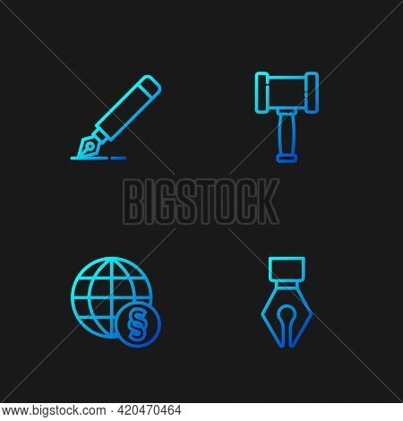 Set Line Fountain Pen Nib, International Law, And Judge Gavel. Gradient Color Icons. Vector