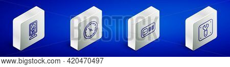 Set Isometric Line Information Stand, Train Station Clock, Electrical Outlet And Repair Of Railway I
