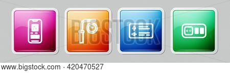 Set Line E-ticket Train, Train Station Clock, Road Traffic Signpost And Electrical Outlet. Colorful