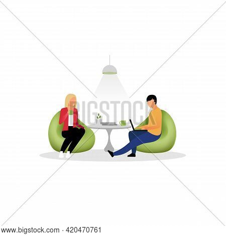 Colleagues Have Rest Flat Vector Illustration. Coworkers, Employees At Lounge Zone. Office Workers,