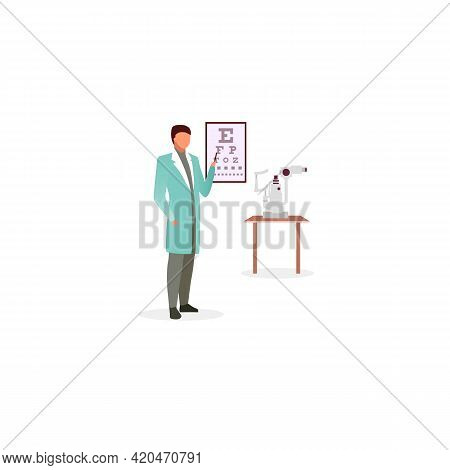 Doctor With Snellen Eye Chart Flat Vector Illustration. Ophthalmologist Checking Visual Acuity. Opti
