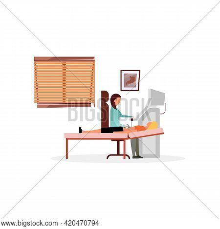 Sonographer Examining Patient Flat Vector Illustration. Doctor, Therapist Doing Diagnostic Abdominal