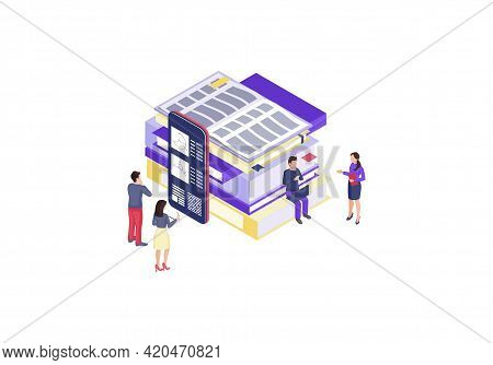 Online Education Isometric Color Vector Illustration. Mobile Learning Infographic. E Course, E Class