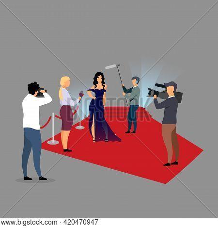 Red Carpet Ceremony Reportage Flat Vector Illustration. Journalists Interviewing Super Star, Celebri