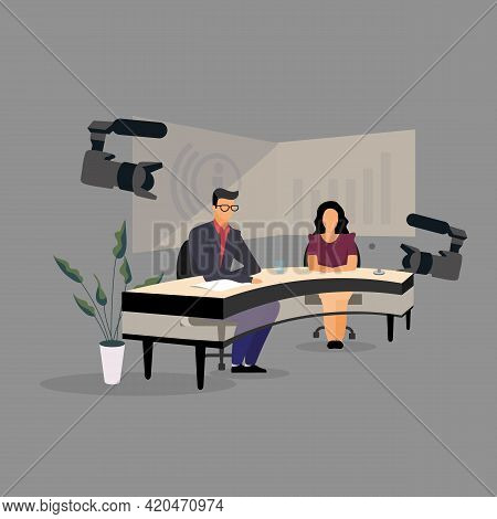 Television Presenter, Journalists At News Studio Flat Illustration. Newscasters Broadcasting, Record