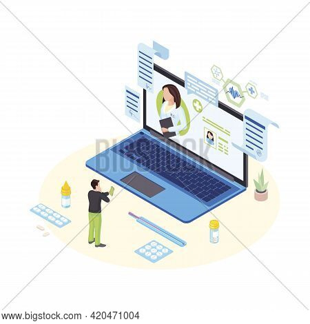 Remote Doctor Consultation Isometric Illustration. Male Patient On Video Conference With Cardiologis