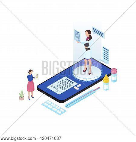 Online Doctor Appointment Isometric Illustration. Cartoon Medical Worker Hologram Prescribing Pills,