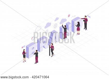 Brand Isometric Color Vector Illustration. Employers Working On Branding Design Infographic. Company