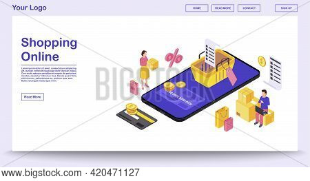 Online Mobile Shopping App Webpage Vector Template With Isometric Illustration. Website, Mobile Appl