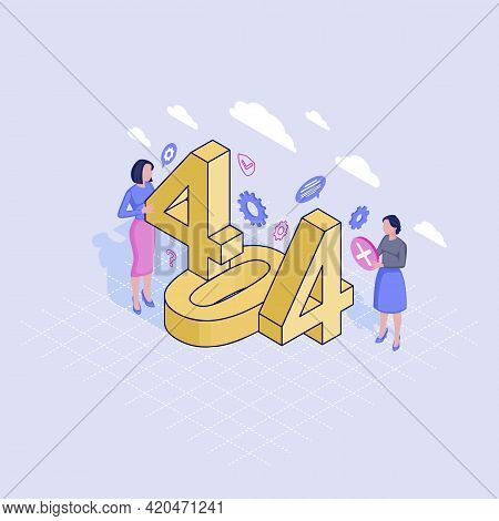 404 Helpline Service Isometric Illustration. It Specialists Fixing Page Not Found Problem. Contactin