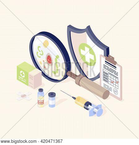 Vaccination Equipment Isometric Color Vector Illustration. Healthcare, Immunisation. Disease Prevent