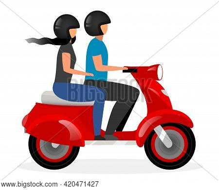 Scooter Taxi Flat Vector Illustration. Boyfriend And Girlfriend Riding Motorcycle Cartoon Character