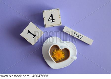 Calendar For May 14: Cubes With The Number 14, The Name Of The Month Of May In English, A Cup Of Cof