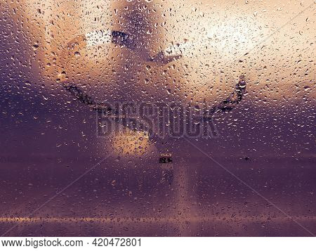 Dirty Scratched Glass With Small Dew Drops