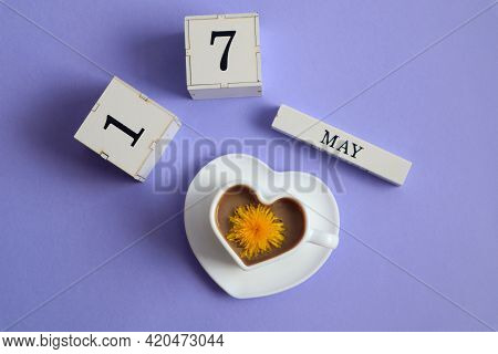 Calendar For May 17: Cubes With The Number 17, The Name Of The Month Of May In English, A Cup Of Cof
