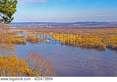 The Upper Mississippi Bayou In Fall Colors In Great River Bluffs State Park In Minnesota