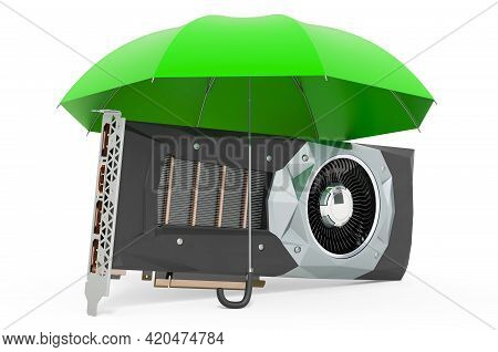 Video Card  Gpu Under Umbrella, 3d Rendering Isolated On White Background