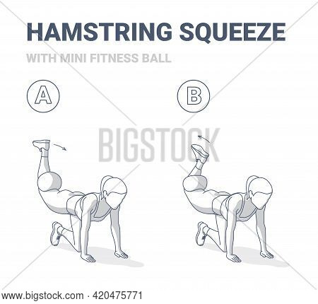 Girl Doing Hamstring Squeeze With Fitness Mini Ball Home Workout Exercise Guidance Illustration.