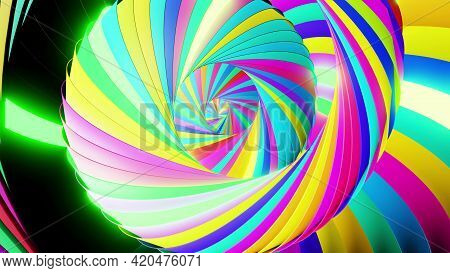 3d Render. Abstract Geometric Bg With Rings Form Complex Twisted Spiral And Light Effects. Rings Fla
