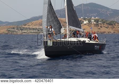 Bodrum,turkey.17 October 2020: Sailboats Sail In Windy Weather In The Blue Waters Of The Aegean Sea,