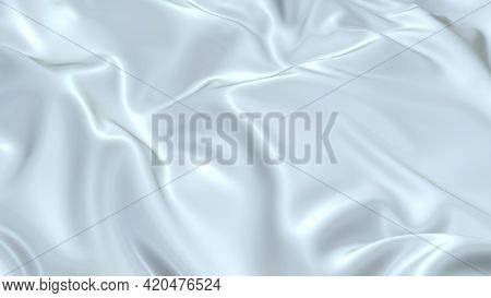 3d Render Beautiful Folds Of White Silk In Full Screen, Like A Beautiful Clean Fabric Background. Si