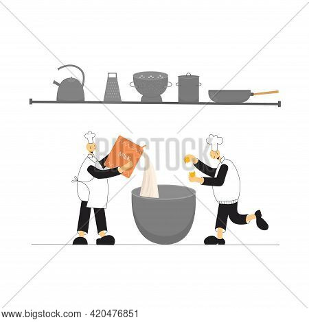 Cook Chef With Hat, Uniform Cooking In Professional Kitchen Restaurant. Vector Stock Illustration Is