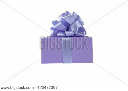 Purple Gift Box With Satin Ribbon Bow Side View Isolated On White. Spring Holidays Present.