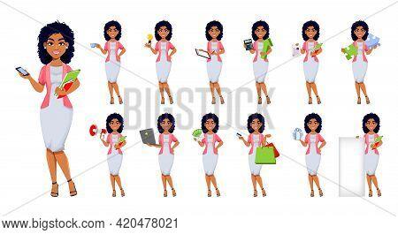 African American Business Woman, Set Of Thirteen Poses. Beautiful Businesswoman Cartoon Character, P