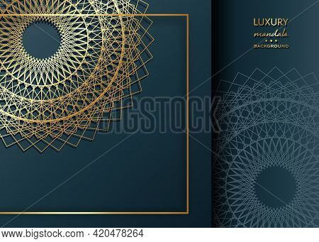 Gold Mandala Vintage Decorative Elements On Blue Navy Background, Golden Frame Art. Luxury Oriental