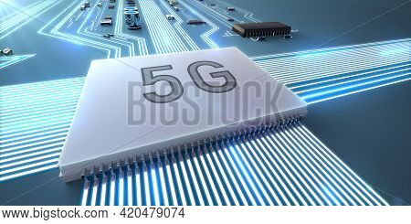 Abstract Illustration Of The Operation Of A 5g Processor