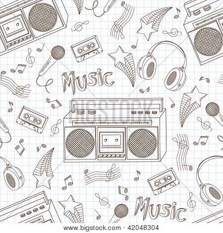 Seamless pattern of music equipment.