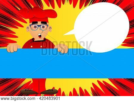 Fat Male Cartoon Chef In Uniform Holding Big Blank Sign. Vector Illustration. Baker Advertising With