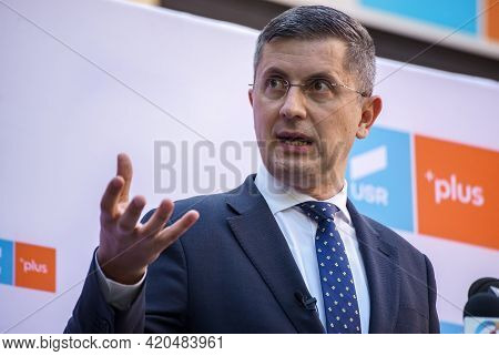 Bucharest, Romania - May 12, 2021: Dan Barna Co-Chairman of the USR-PLUS Alliance during a press conference about his possible investigation by DNA in a case of embezzlement of EU funds.