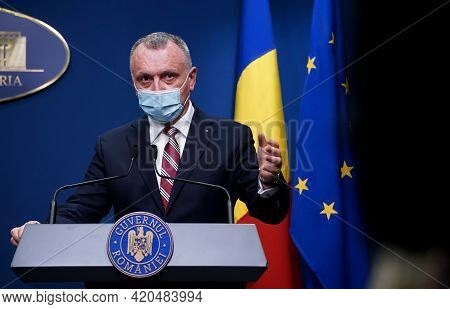 Bucharest, Romania - May 13, 2021: Sorin Cimpeanu, Romanian Minister Of Education, Answer The Questi