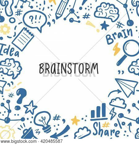 Hand Drawn Banners Template With Brainstorm, Idea, Brain Elements. Doodle Sketch Style. Vector Illus