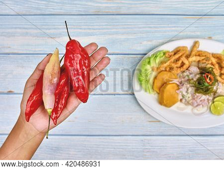 Woman Holding Handful Of Red Chillies, Mid Section, Close-up ,hands With Spicy Red Chili Pepper And