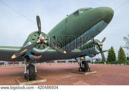 Ladozhskoe Ozero, Russia - September 07, 2018: Military Transport Aircraft Li-2 Close-up. Exhibit Of