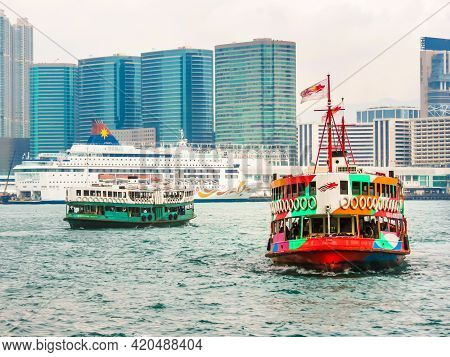 Hong Kong, Hong Kong - November 09, 2012: Passenger Star Ferry Boats Crosses The Victoria Harbour, H