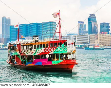Hong Kong, Hong Kong - November 09, 2012: Passenger Star Ferry Boat Crosses The Victoria Harbour, Ho