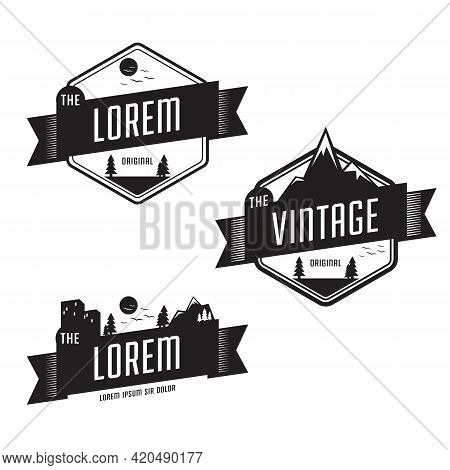 Set Of Vintage Retro Badge Template With Landscape Outdoor Nature, Mountain, Field, And City Backgro