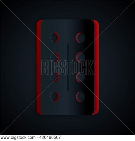 Paper Cut Pills In Blister Pack Icon Isolated On Black Background. Medical Drug Package For Tablet,