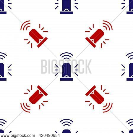 Blue And Red Smart Flasher Siren System Icon Isolated Seamless Pattern On White Background. Emergenc