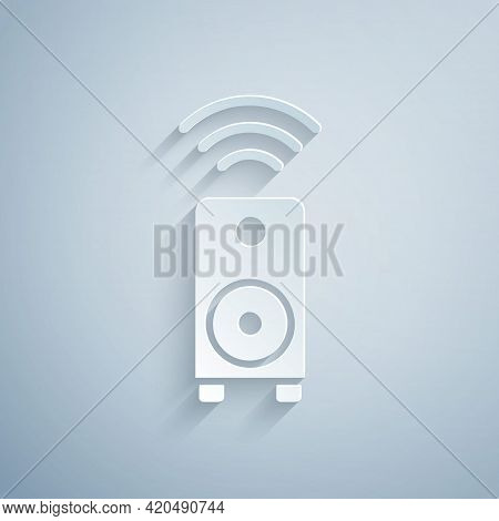 Paper Cut Smart Stereo Speaker System Icon Isolated On Grey Background. Sound System Speakers. Inter