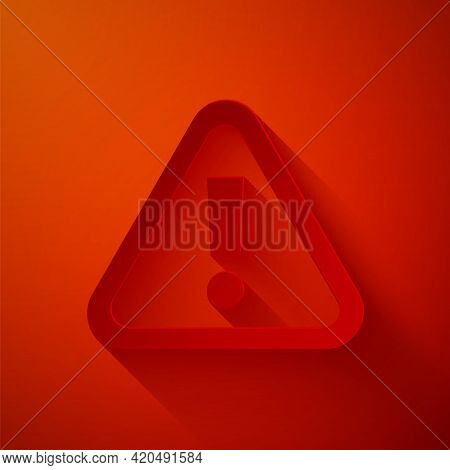 Paper Cut Exclamation Mark In Triangle Icon Isolated On Red Background. Hazard Warning Sign, Careful