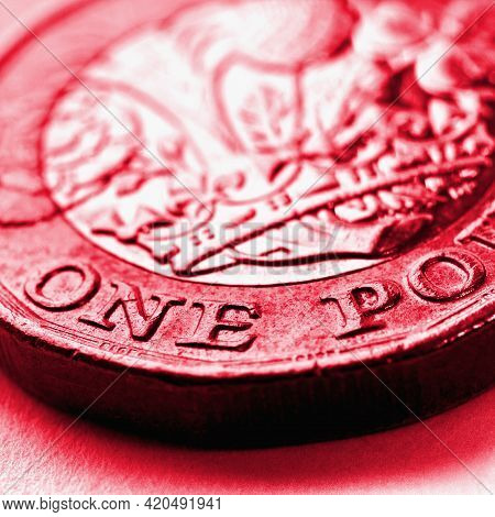 1 One British Pound Coin. Red Tinted Square Illustration About Money Or Economy Of The United Kingdo
