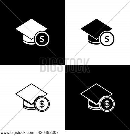Set Graduation Cap And Coin Icon Isolated On Black And White Background. Education And Money. Concep