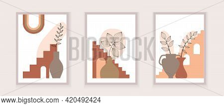 Abstract One Line Art Leaf. Botanical Prints Boho Vector Set For Wall Art .