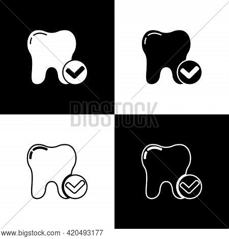 Set Tooth Whitening Concept Icon Isolated On Black And White Background. Tooth Symbol For Dentistry