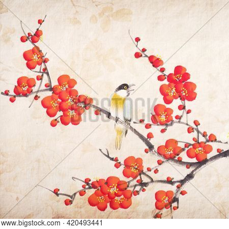 Traditional chinese painting of flowers, plum blossom and bird, on old paper background.